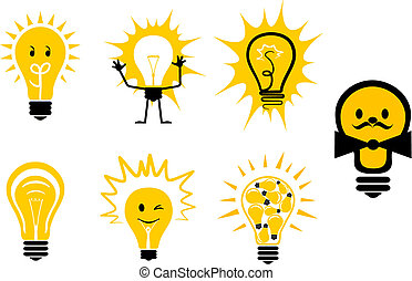 Light bulbs symbols - Set of light bulb symbols for design