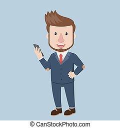 Business man hold a gadget
