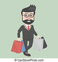 Business man carrying shoping bag