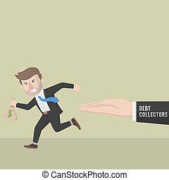 Business man run away from debt collector
