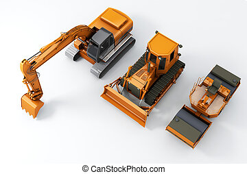 Road machinery on grey background Top view