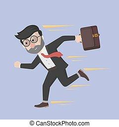 Business man run faster