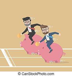 Business man piggy bank race