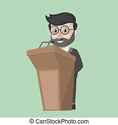 Flat design business man in podium