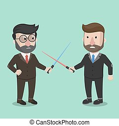 Business man competition fight