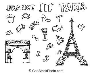 Hand drawn Paris illustration Love Paris design Vector...