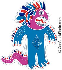 Vector cool cartoon crazy monster, simple weird creature...