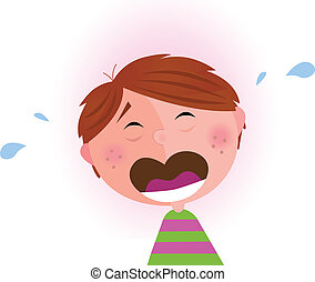 Small crying boy - Vector Illustration of lonely small...