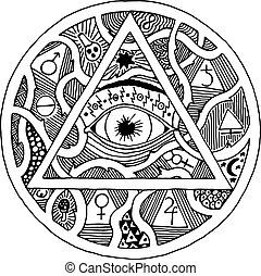 All seeing eye pyramid symbol in tattoo engraving design...