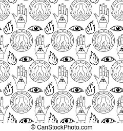 Seamless pattern all seeing eye, the hand and the alchemical...