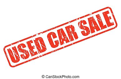 USED CAR SALE RED STAMP TEXT ON WHITE