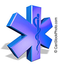Medical cross symbol with Caduceus - Medical blue cross...