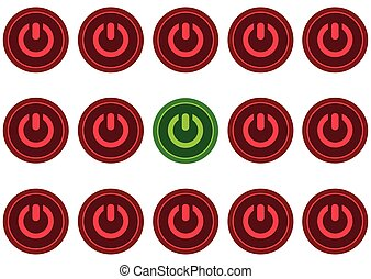 Green button of inclusion - Icon of inclusion and switching...