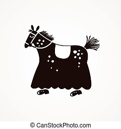 Suit horse for two people vector illustration