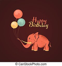 Elephant happy birthday card - Postcard birthday with a cute...