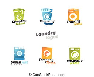 Laundry - Collection of laundry Washing machines Vector...