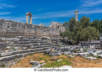 Ruins of ancient Temple of Apollo, Didyma, Aydin Province,...