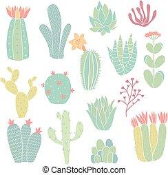 cacti - set of hand drawn cacti on isolated background