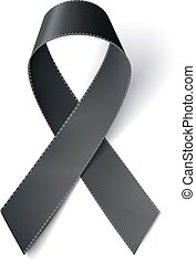 Realistic black ribbon, melanoma awareness symbol, isolated...