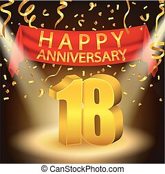 Happy 18th Anniversary celebration - Vector Illustration Of...
