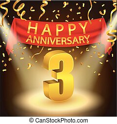 Happy 3rd Anniversary celebration - Vector Illustration Of...