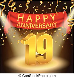 Happy 19th Anniversary celebration - Vector Illustration Of...