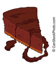 Dark chocolate cheesecake slice.