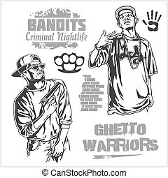 Bandits and hooligans - criminal nightlife Vector...