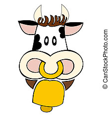 Dairy cow with cowbell.