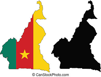 Cameroon - Vector pattern map and flag of cameroon