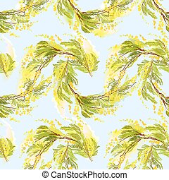 Yellow mimosa background. - Hand drawn floral yellow green...
