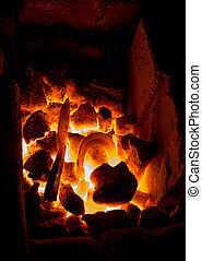 Blazing furnace at the blacksmith and 39;s - Blazing furnace...