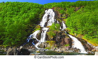 Latefossen twin waterfall, close to Route 13 in Norway,...