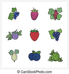 Berry, Flat Design , Isolated on White Background , Set of...