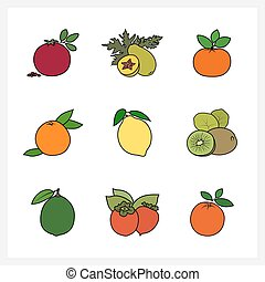 Citrus Fruit and Fruit Growing on a Trees, Flat Design ,...