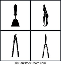 Set of Agricultural Tool Icons, Garden and Landscaping Tools...