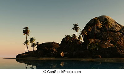 beach seascape view with a big stones and palmtree at sunset