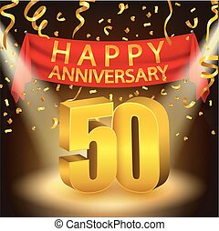 Happy 50th Anniversary celebration - Vector Illustration Of...