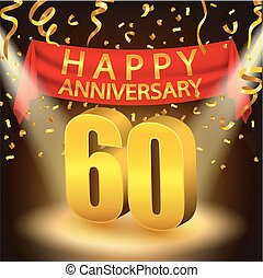 Happy 60th Anniversary celebration - Vector Illustration Of...