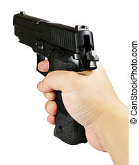 pistol and hand - Picture of isolated pistol and hand with...