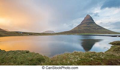 Reflection of Kirkjufell Kirkjufell at almost sunset time -...