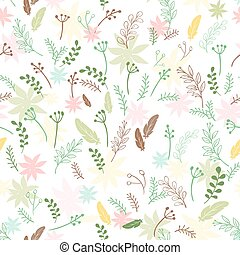 vector spring seamless pattern with colored flowers, leaves feathers and branches