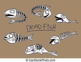 Cartoon Dead Fish Bones
