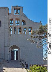 Entrance of Monastery Prophet Elias, Santorini island,...