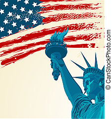 statue of liberty - A grunge american flag with the statue...