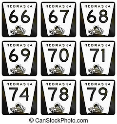 Collection of Nebraska Route shields used in the United...