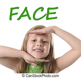 cute little girl showing face in body parts learning English...