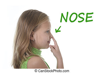 cute little girl pointing her nose in body parts learning...