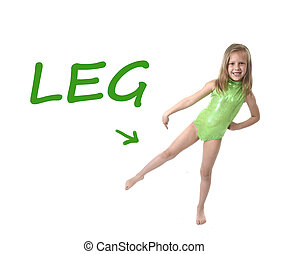 cute little girl pointing leg in body parts learning English...
