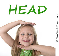 cute little girl showing head in body parts learning English...